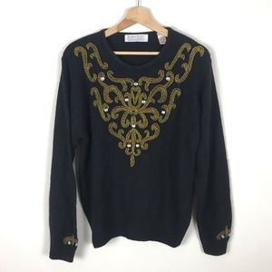 VINTAGE Silk Embroidered Sweater - S